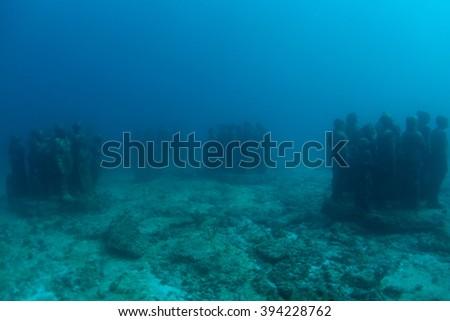 Statue underwater - stock photo
