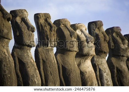 statues at easter island - stock photo