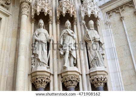 Statues at the facade of the Cathedral of the Assumption of the Blessed Virgin Mary, Zagreb, Croatia