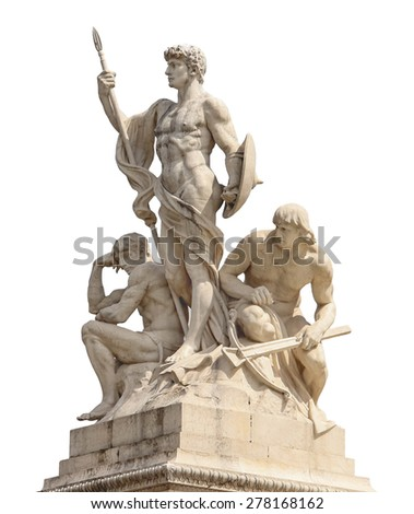 Statues in a monument to Victor Emmanuel II. Piazza Venezia, Rome - stock photo