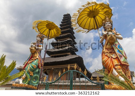 Statues in Pura Ulun Danu temple on a lake Beratan (Bratan), Bali, Indonesia - stock photo