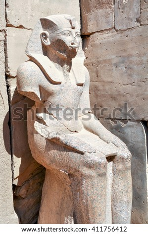 Statues in the Ancient temple Karnak in Luxor. Egypt.