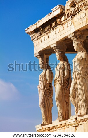 Statues of Erechtheion in Athens, Greece - stock photo