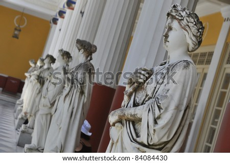 Statues of Greek Goddess in Achilleon palace on Corfu - stock photo