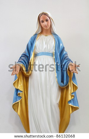 Statues of Holy Women in Roman Catholic Church isolated on white background - stock photo