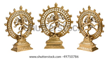 Statues of Indian Hindu god Shiva Nataraja - Lord of Dance isolated on white