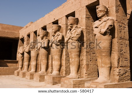 Statues of Ramses II as Osiris in Karnak Temple, Luxor (Thebes) Egypt. - stock photo