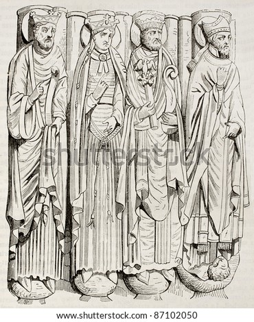 Statues of Saint-Germain-des-Pres abbey porch. By unidentified author, published on Magasin Pittoresque, Paris, 1843