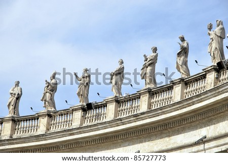 Statues of saints in the colonnade. Vatican City. Rome. - stock photo