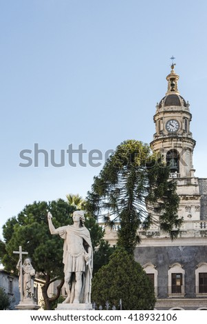 Statues of saints near the Cathedral of Santa Agatha in Catania, Sicily, Italy. Unesco world heritage site - stock photo
