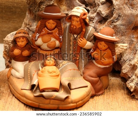 statues of the Nativity scene with Holy Family in South American style - stock photo