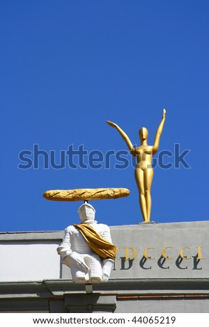 Statues on museum of Salvador Dali in Figueres, Spain - stock photo