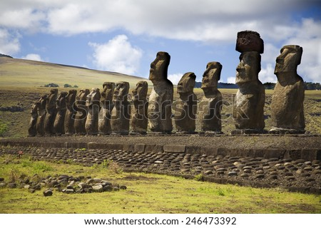 statues on the easter island - stock photo