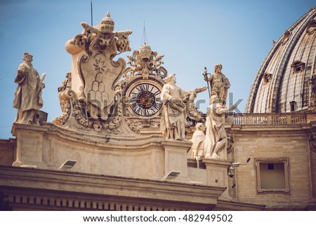 Statues on the Vatican in Rome, Italy