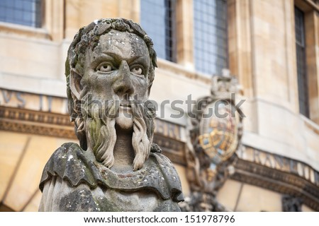 Statues outside the Sheldonian Theatre. Oxford, England  - stock photo