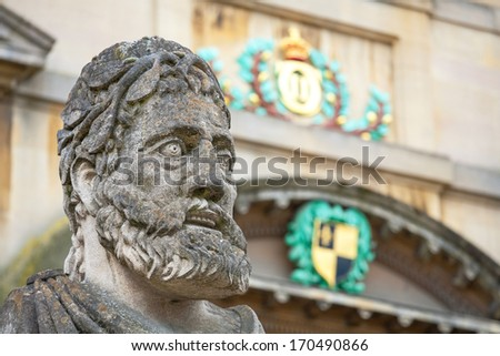 Statues outside the Sheldonian Theatre. Oxford, Oxfordshire, England  - stock photo