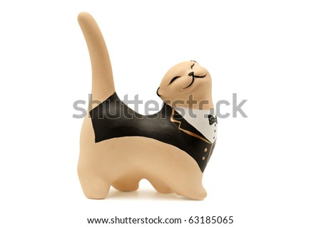 statuette cat isolated on white background - stock photo