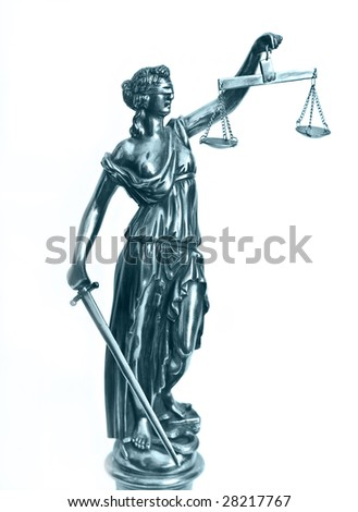 statuette of justice goddess Themis or Femida with scales and sword - stock photo