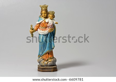 Statuette of our lady; antique image; popular art