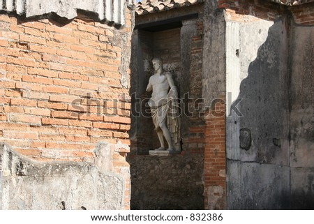 Statute in Pompeii, Italy. - stock photo