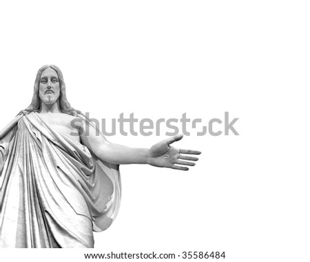 Statute of Jesus with white background