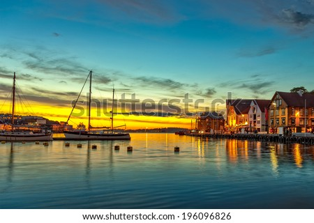 Stavanger at night - Charming town in the Norway.  - stock photo