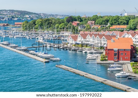 Stavanger marina and housing - stock photo