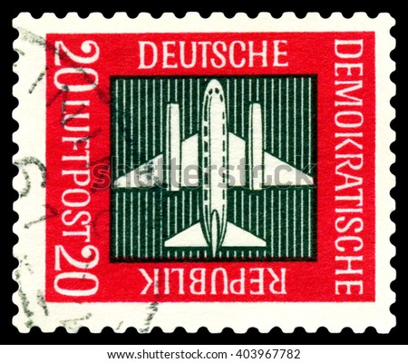 STAVROPOL, RUSSIA - APRIL 05, 2016: a stamp printed by GDR  shows  Stilized plane, payment airmail, circa 1957 - stock photo