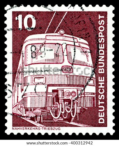 STAVROPOL, RUSSIA - APRIL 04, 2016: a stamp printed by  Germany , shows   Elektric Train, series Industry and Technology,  circa 1975 - stock photo