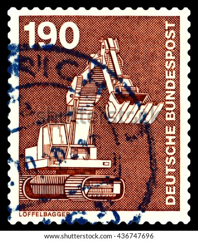 STAVROPOL, RUSSIA - APRIL 04, 2016: a stamp printed by  Germany , shows  excavator, series Industry and Technology,  circa 1975 - stock photo