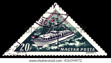 STAVROPOL, RUSSIA - APRIL 28, 2016: a stamp printed by Hungary, shows Motorboat, river Danube, lake Balaton, circa 1963 - stock photo