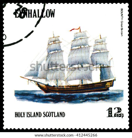 STAVROPOL, RUSSIA - APRIL 09, 2016: a stamp printed by Scotland, shows  old Sailing ship  Bounty  Great Britain,  circa 1984 . - stock photo