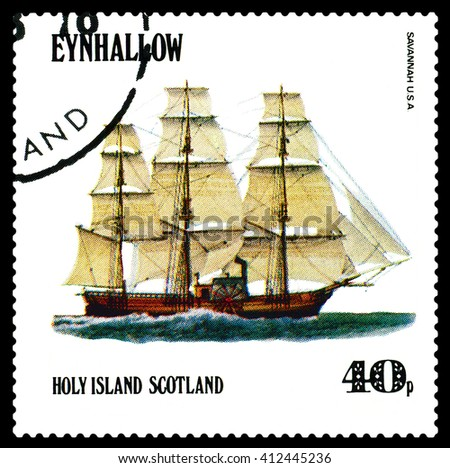 STAVROPOL, RUSSIA - APRIL 09, 2016: a stamp printed by Scotland, shows  old Sailing ship  Savannan USA,  circa 1984 . - stock photo
