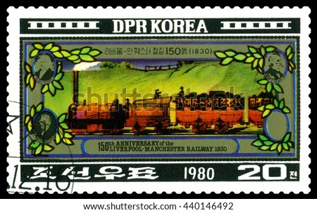 STAVROPOL, RUSSIA - APRIL 29 2016: A Stamp printed in the DPR Korea  shows  Liverpool-Manchester Railway, 150th anniversary, circa 1980  - stock photo