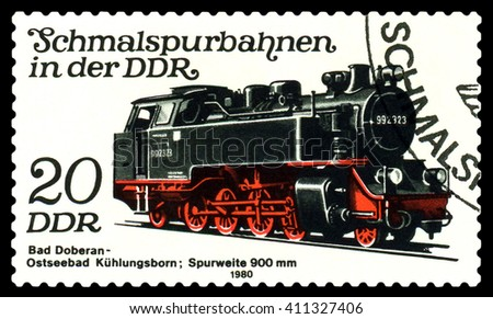 STAVROPOL, RUSSIA - APRIL 03, 2016: A Stamp printed in the  GDR  shows  Bad Doberan - Ostseebad  Kuhlungsborn Lokomotive,  circa 1980 - stock photo