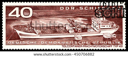 STAVROPOL, RUSSIA - JULY 04, 2016: a stamp printed by  Germany,  Container cargo ship  typ 451,  circa 1971 - stock photo