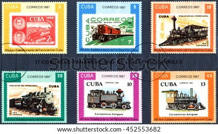 STAVROPOL, RUSSIA - JULY 04, 2016: A Stamp printed in the  Cuba  shows  antique  locomotive, Cuban  Railway, 150th anniversary, series, circa 1987 - stock photo