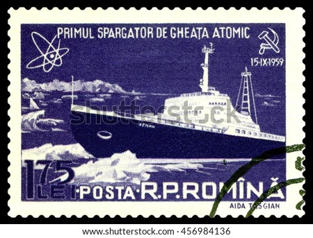 STAVROPOL, RUSSIA - July 23, 2016: A Stamp printed in the Romania  shows  known  russian  Atomic  Icebreakers  Lenin, circa 1959 - stock photo
