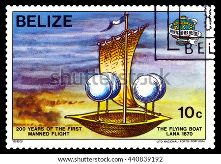 STAVROPOL, RUSSIA - JUNE 20, 2016: a stamp printed in Belize, shows an   Flying Boat Lana 1670, 200 years of manned flight, cirka 1983 - stock photo