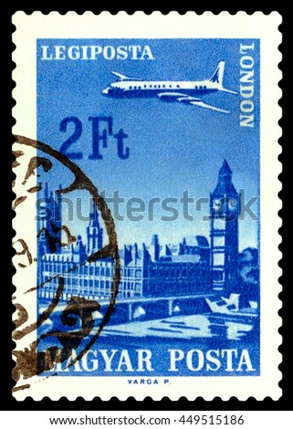 STAVROPOL, RUSSIA - June 28, 2016:  A stamp printed in  Hungary shows  plane flying over London, circa 1966 - stock photo