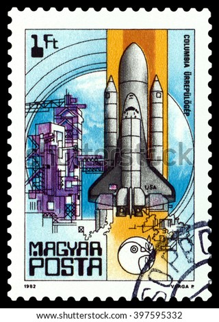 """STAVROPOL, RUSSIA - MARCH 29, 2016: A stamp printed in Hungary shows Columbia Space Shuttle, from the series """"Space Research"""", circa 1982 - stock photo"""