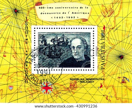 STAVROPOL, RUSSIA - May 31, 2016: a stamp printed by Malagasy Republic, shows  Columbus. Discovery of America, 500th anniversary,  circa 1991. - stock photo