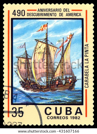 STAVROPOL, RUSSIA - May 31, 2016: a stamp printed in Cuba, shows  caravelle  Pinta. Discovery of America, 500th anniversary,  circa 1982. - stock photo