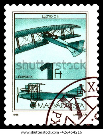STAVROPOL, RUSSIA - MAY 24, 2016: A stamp  printed  in  Hungary  shows   aircraft  Lloyd C II, , circa 1988. - stock photo