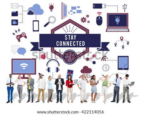 Stay Connected Technology Icons Graphics Concept - stock photo