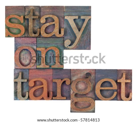 stay on target words in vintage wooden letterpress printing blocks, stained by color inks, isolated on white - stock photo
