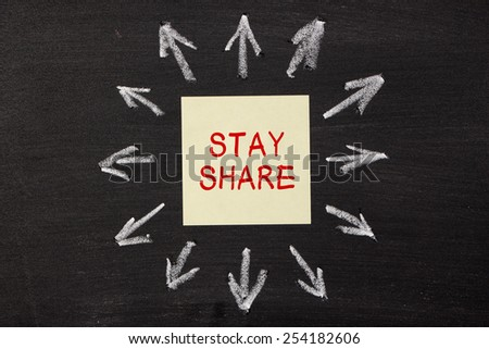 Stay Share - sticky note pasted on a blackboard background with a lot chalk arrows.