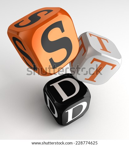 STD (Sexually transmitted diseases) sign on orange, white and black box cubes. clipping path included