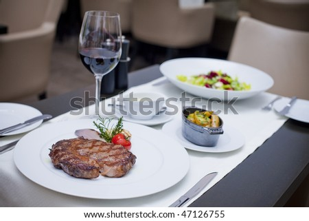 Steak and glass of red wine