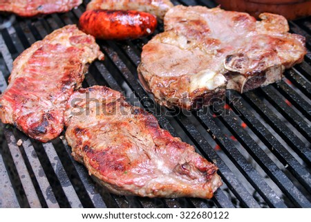 Steak Being Cooked On griddle